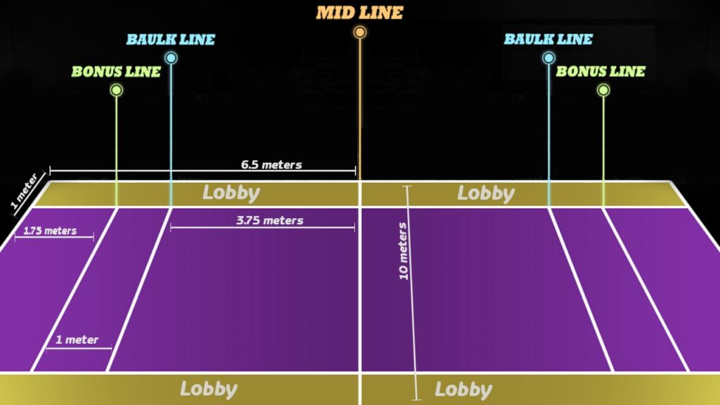 kabaddi court size in meters