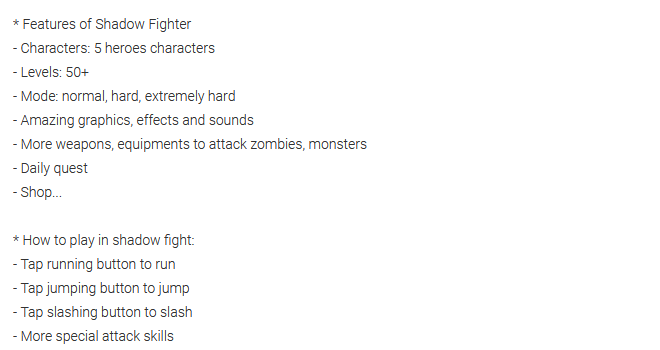 Shadow Fighter Features: